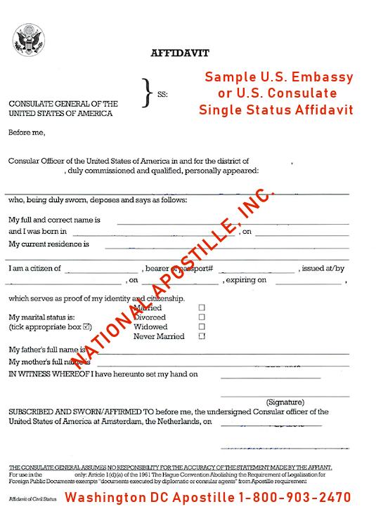 Single Status Affidavit US Embassy
