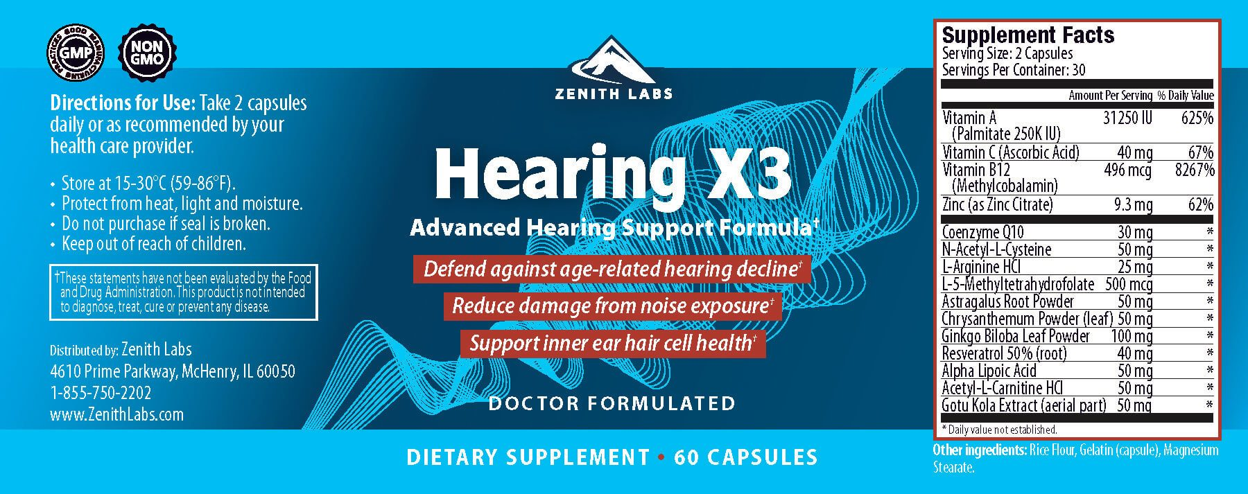 Hearing-X3-Ingredients-Label