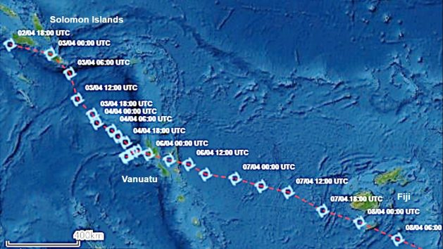 Commonsensing Track of Cyclone Harold through the Pacific Islands using data from satellites